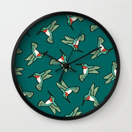 Hummingbird Pattern Wall Clock