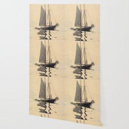 Vintage Schooner Sailboat Watercolor Painting (1894) Wallpaper