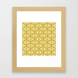 Retro Mid-Century Saucer Pattern in Yellow, Gray, Cream Framed Art Print