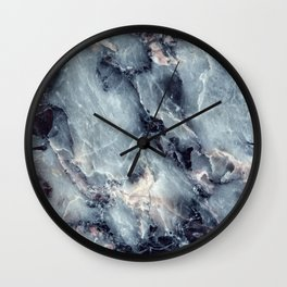 Abstract Mod vivid blue Cube Teal mid century modern Texture grunge midnight navy colors Wall Clock