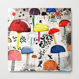 Mein Ein, mein Alles - Mushrooms Abstract Botanical Art - cute animal print - Leopard Muster Metal Print