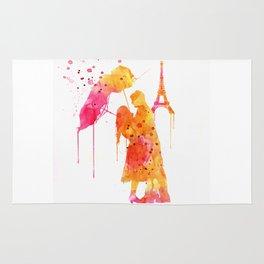 Watercolor Love Couple in Paris Rug