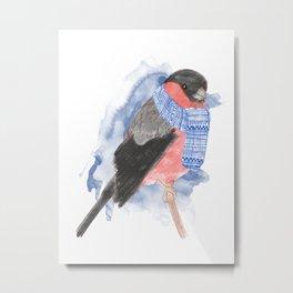 Winter Bullfinch Metal Print