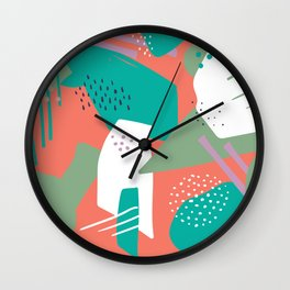 Abstract bright coral mauve green white geometrical shapes Wall Clock