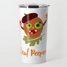 Whimsical Leaf Peeper Acorn Cartoon Travel Mug