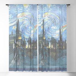 Starry Night Castle Sheer Curtain