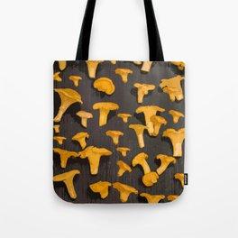 Chantterelles On A Dark Grey Background - Autumn Harvest - #Society6 #buyart Tote Bag