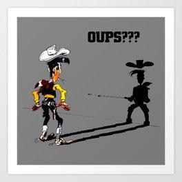 Fast shadow - OUPS - grey version Art Print