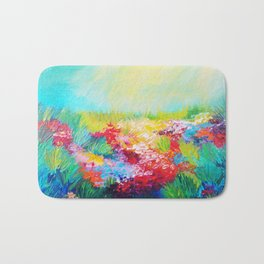 ETHERIAL DAYS - Stunning Floral Landscape Nature Wildflower Field Colorful Bright Floral Painting Bath Mat