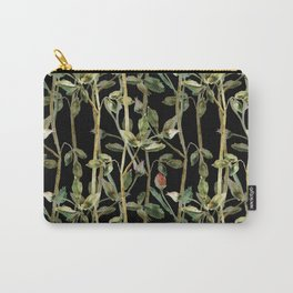 Rose branches and buds on black Carry-All Pouch