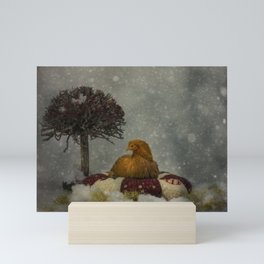 Christams winter chicken  Mini Art Print