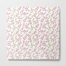 Vintage girly pink bohemian floral illustration Metal Print