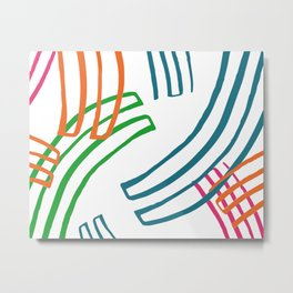 Abstract Multicolor Lines Pattern Metal Print