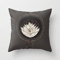 lotus flower Throw Pillows featuring Lotus by Hector Mansilla