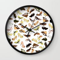 shoes Wall Clocks featuring Shoes by Jeanne Bornet