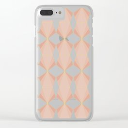 geometry art decó in pink and mauve Clear iPhone Case