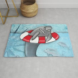 Manatee in a Swim Ring Rug