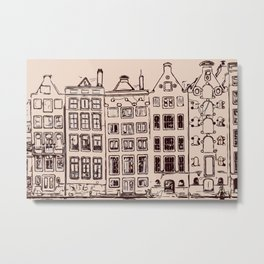 Canal house in Amsterdam, The Netherlands Metal Print