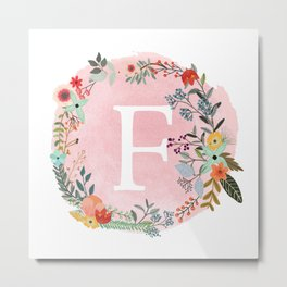Flower Wreath with Personalized Monogram Initial Letter F on Pink Watercolor Paper Texture Artwork Metal Print