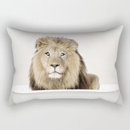 Lion in a Vintage Bathtub (c) Rectangular Pillow