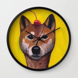 """Cherry on Pup"" Shiba Inu Wall Clock"