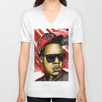 jay z V-neck T-shirts featuring Jay Z by C.Love Designs