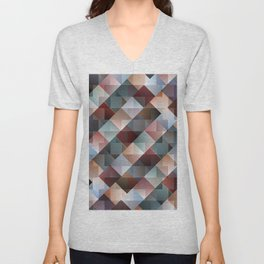 Color Mixing with Squares and Triangles Unisex V-Neck