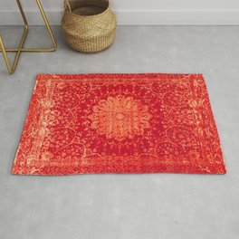 Geometric Orange Oriental Vintage Traditional Moroccan Mandala Rug