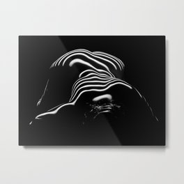 0686- Nude Female Naked BBW Geometric Black White Naked Body Big Abstracted Sensual Sexy Erotic Art Metal Print