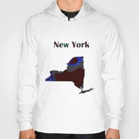 new york map Hoodies featuring New York Map by Roger Wedegis