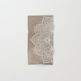 Brown beige taupe mandala - left side Hand & Bath Towel