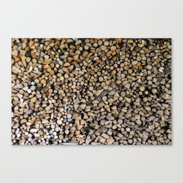 Massive assorted pile of firewood, Photography Canvas Print