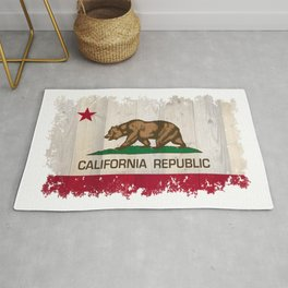 California Republic flag on woodgrain   Rug