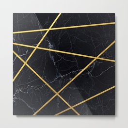 Black marble with gold lines Metal Print