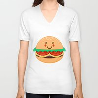 burger V-neck T-shirts featuring Burger by AnishaCreations