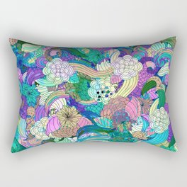 Colorful Wild Flowers Collage Rectangular Pillow