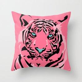 Pop Art Pink Tiger Throw Pillow