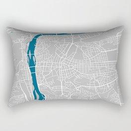Prague city map grey colour Rectangular Pillow