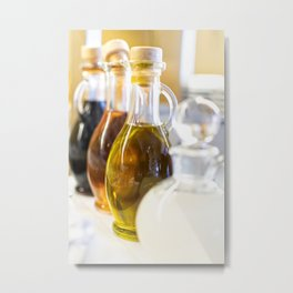 Glass bottles filled with oil and vinegar  Metal Print