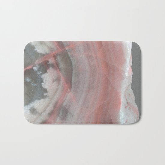 Grey Marble with Pink Bath Mat