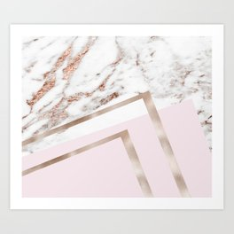 Geometric marble - luxe rose gold edition I Art Print