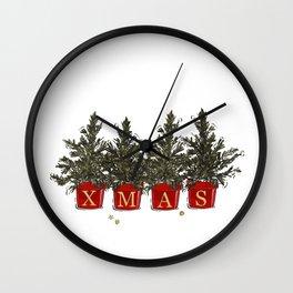 Merry Christmas tree pods Wall Clock