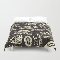sport Duvet Covers featuring Sport rugby emblems pattern by Fedor Novykh