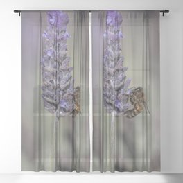 Bee on Lavender Sheer Curtain