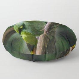 green parrot blue head Floor Pillow