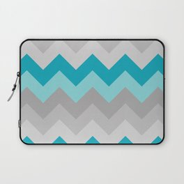 Teal Turquoise Blue Grey Gray Chevron Ombre Fade Laptop Sleeve