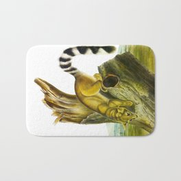 Ring-tailed Cat Vintage Drawing Bath Mat