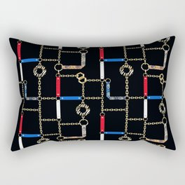 Gold chains, straps on black. Rectangular Pillow