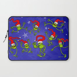 Christmas Frogs jumping, dancing and celebrating! Laptop Sleeve