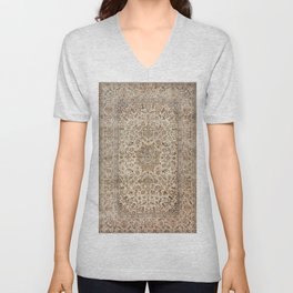 Isfahan Central Persia Old Century Authentic Colorful Dusty Blue Tan Distressed Vintage Patterns Unisex V-Neck